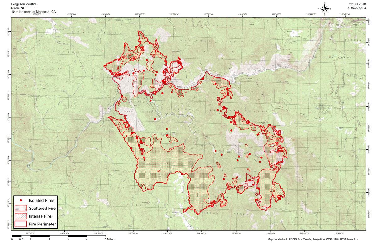 Ferguson Fire California Map.Sunday Infrared Map Of The Ferguson Fire In Mariposa County Near