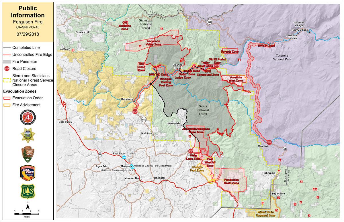Ferguson Fire Near Yosemite National Park in Mariposa County