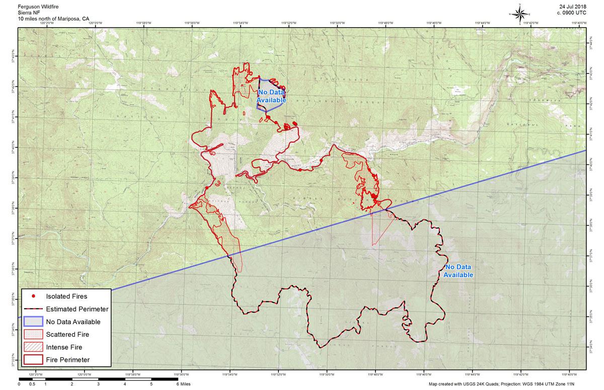 Ferguson Fire California Map.Tuesday July 24 Infrared Map Of The Ferguson Fire In Mariposa