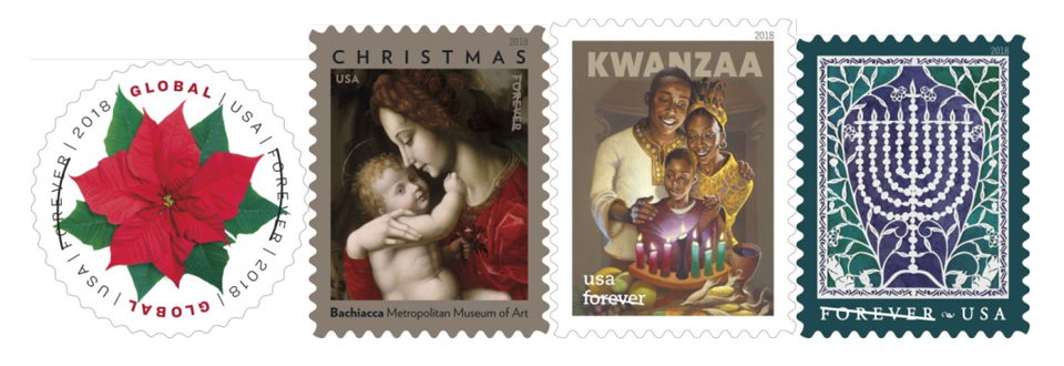 Usps Christmas Stamps 2019.U S Postal Service Delivers Happy Holidays With New 2018