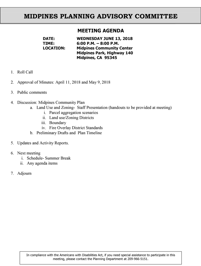 2018 06 13 mariposa county Midpines Planning Advisory Committee Public Agenda june 13 2018