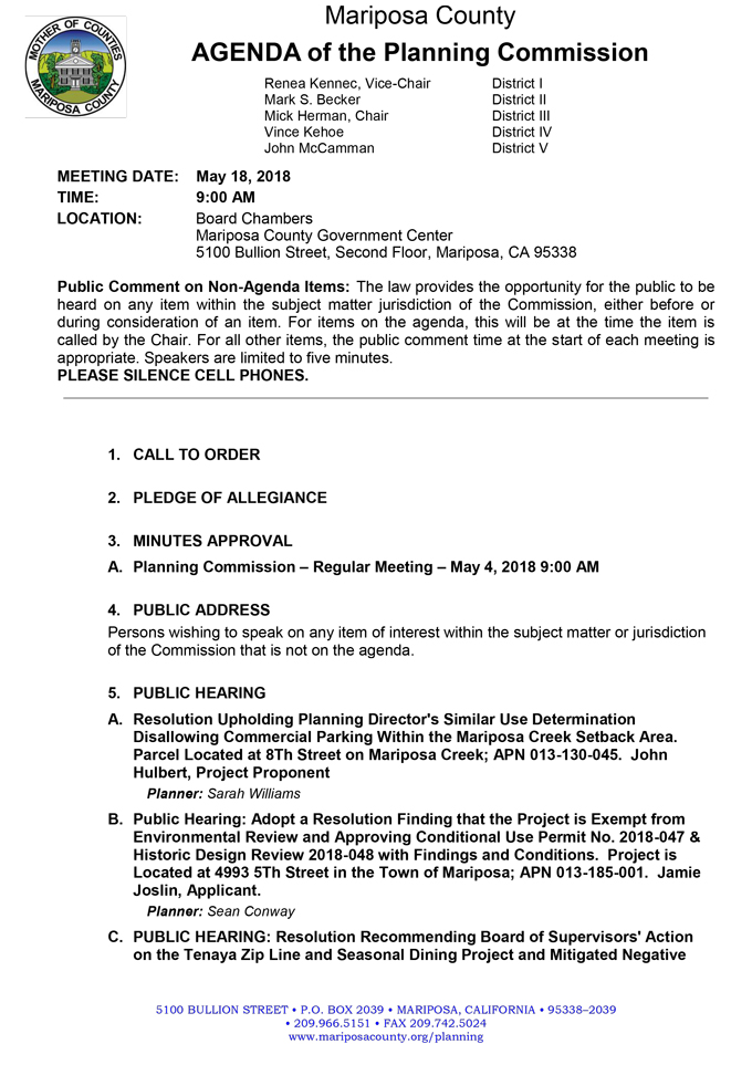 2018 05 18 mariposa county Planning Commission Public Agenda may 18 2018 1