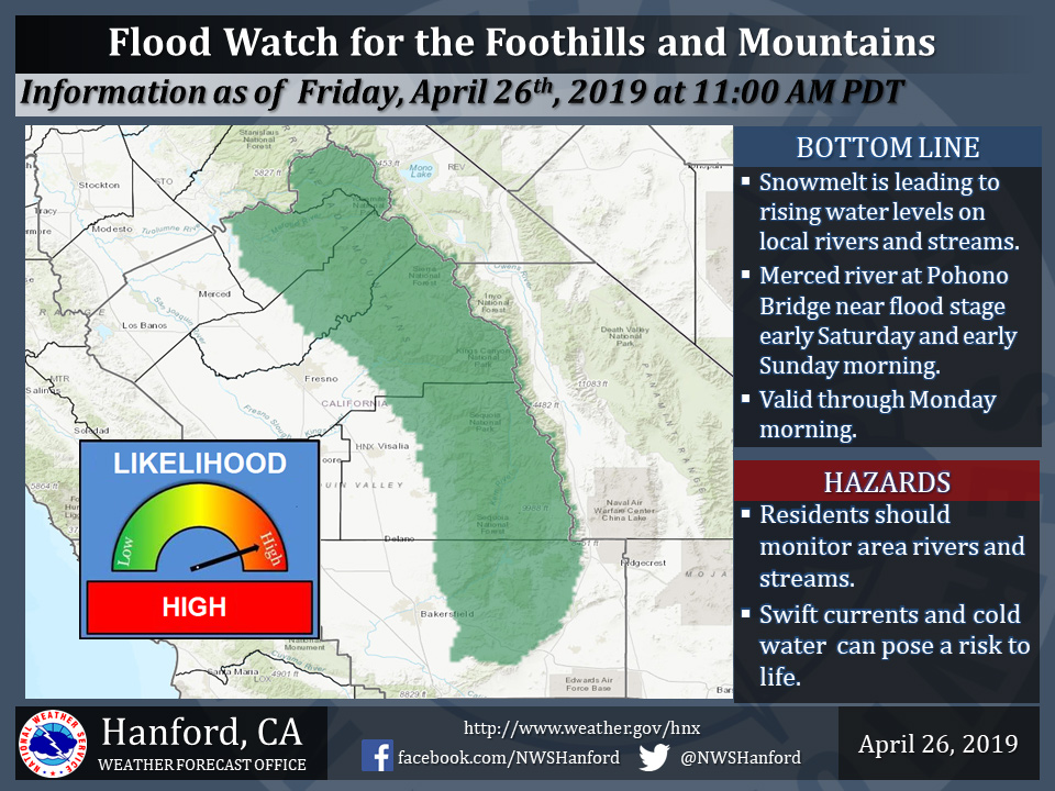 Flood Watch Issued for the Sierra Foothills and Mountains Including on map of tehachapi mountains, map of san gabriel mountains, map of sierra madre mountains, map of los gatos mountains, map of southern california mountains,