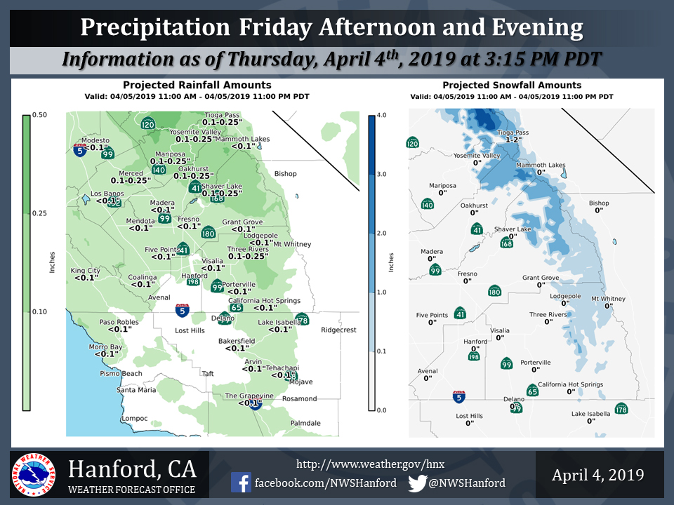 Friday April 5, 2019 Projected Rainfall Totals for Mariposa, Oakhurst and Yosemite Valley