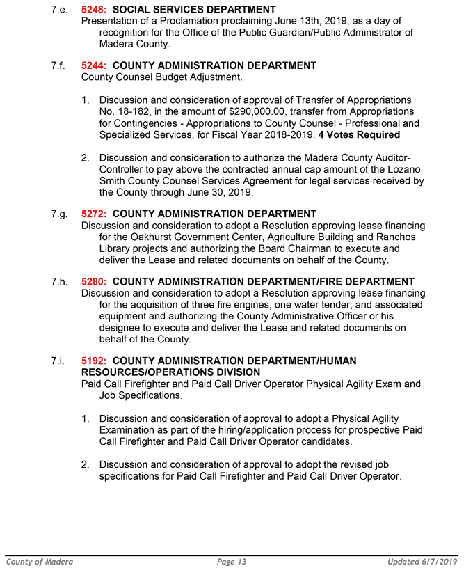 Madera County Board of Supervisors Meeting Agenda for