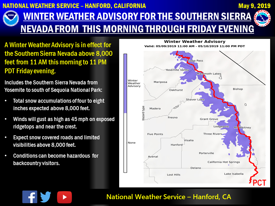 Winter Weather Advisory Issued for the Southern Sierra