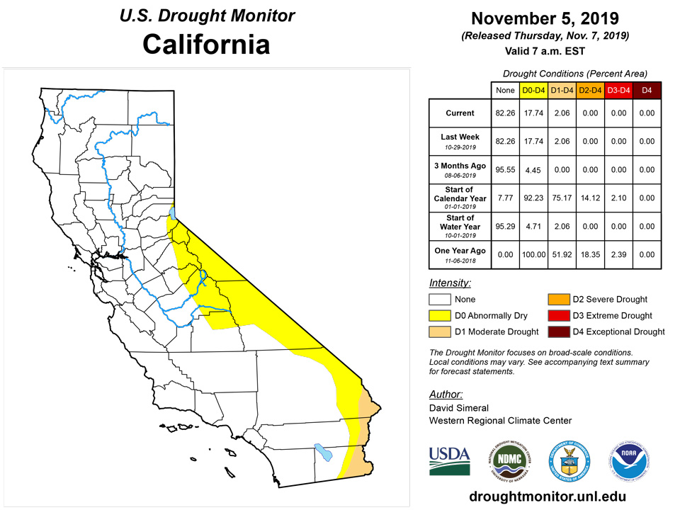 California and National Drought Summary for November 5, 2019 ... on california flooding 2014, california radiation map, california shade map, california population growth map, california water, california rain totals 2014, california rainfall, california mudslides 2014, san jose water district map, california poverty map, california office of emergency management, california smog map, california aquatic supply, california oil spill map, 2014 united states wildfires map, california counties historical maps, california el nino, california flooding map, ibew california map, california evapotranspiration map,