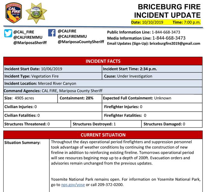 BRICEBURG FIRE UPDATE 10 10 2019 PM 1