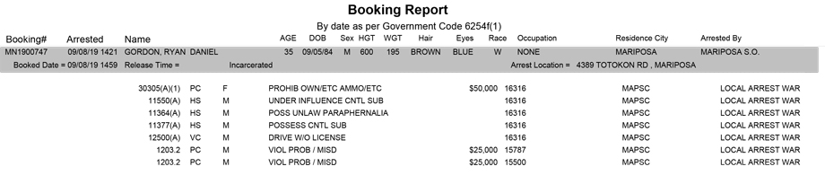 mariposa county booking report for september 8 2019