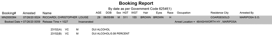 mariposa county booking report for july 26 2020