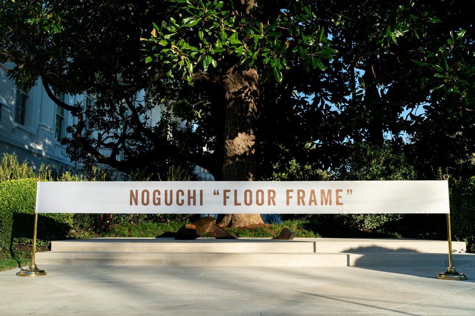 First Lady Melania Trump Unveils A Sculpture Installation In The White House Rose Garden By Isamu Noguchi