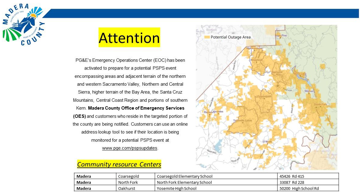 Update Eastern Madera County Pg E Public Safety Power Shutoff Psps Outage Beginning Sunday October 25 2020