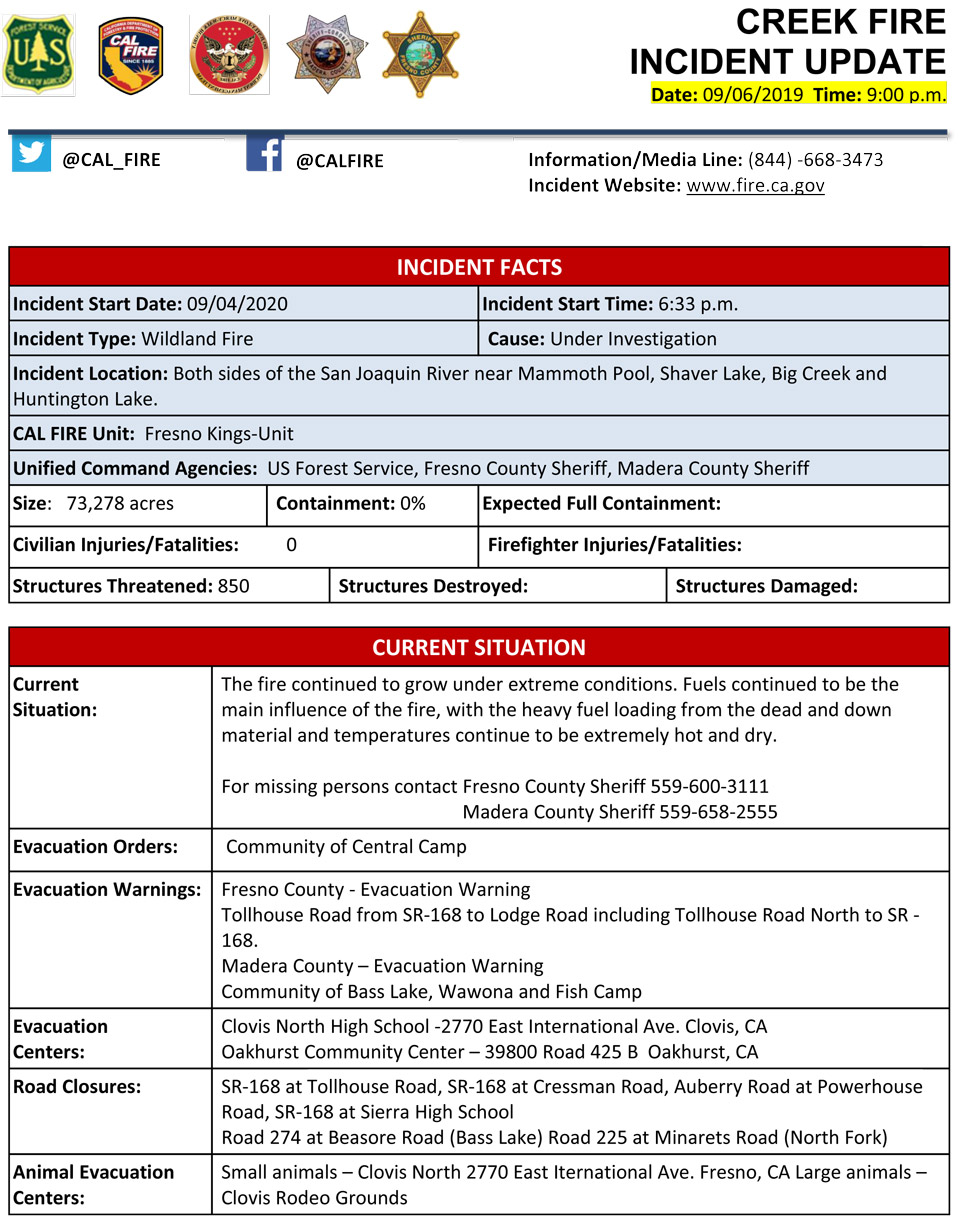 9 6 20 creek fire pm update 1