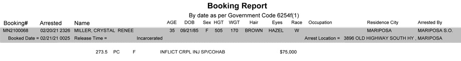 mariposa county booking report for february 21 2021