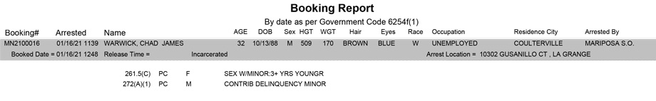 mariposa county booking report for january 16 2021
